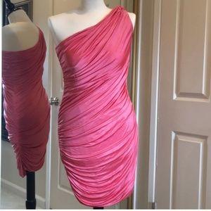 bebe one shoulder ruched dress